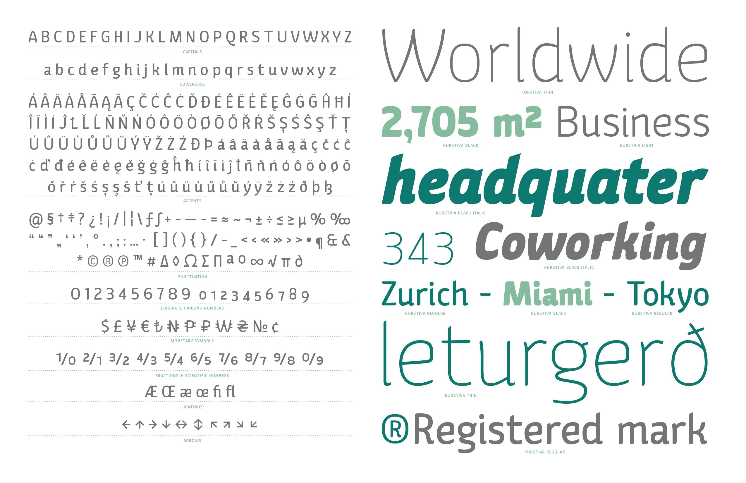 Kurstiva typeface family