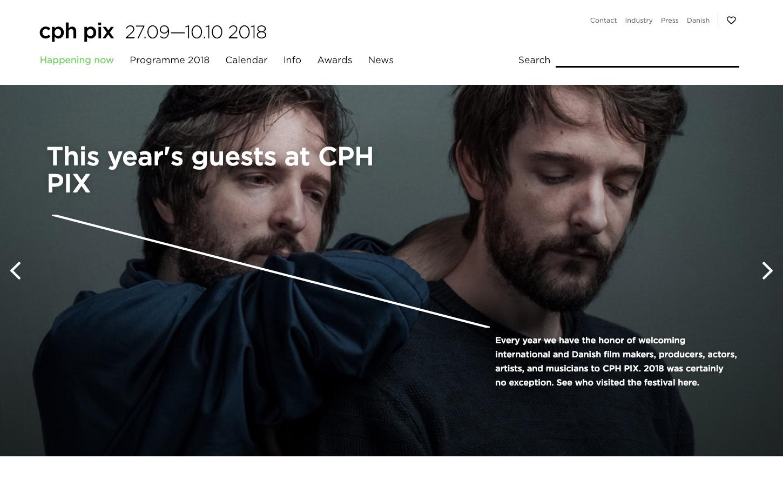 Website for CPH PIX, Denmark'slargestannualfeaturefilmfestival