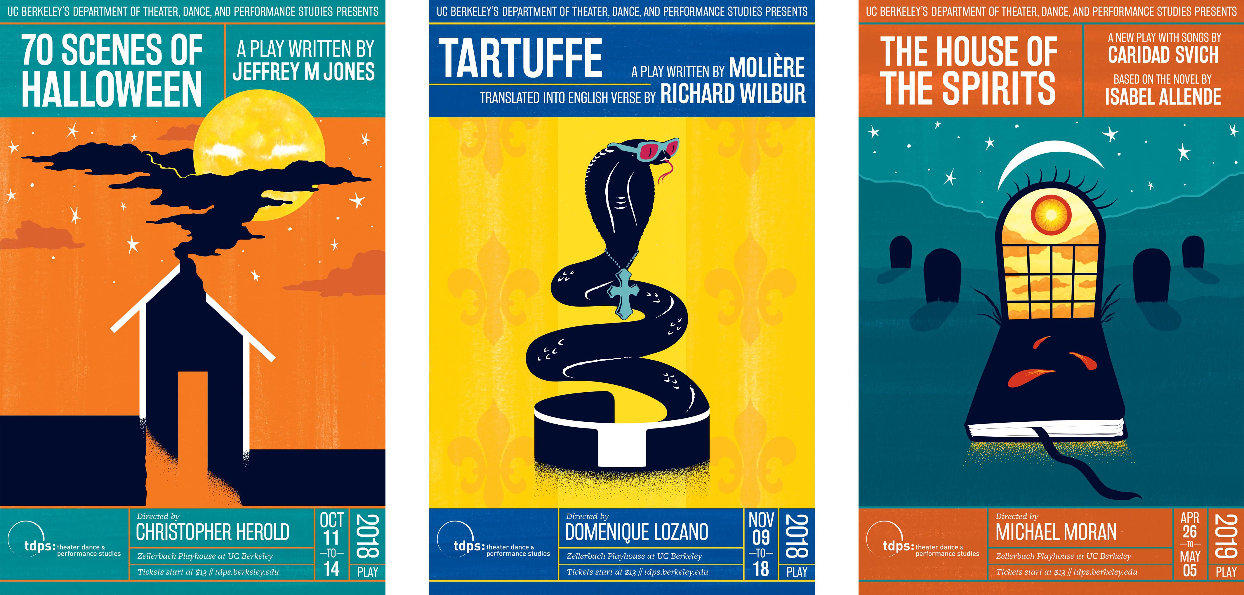 UC Berkeley TDPS 2018–19 Performance Season Posters