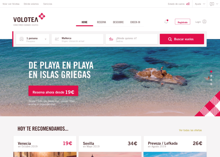 Volotea website and mobile app